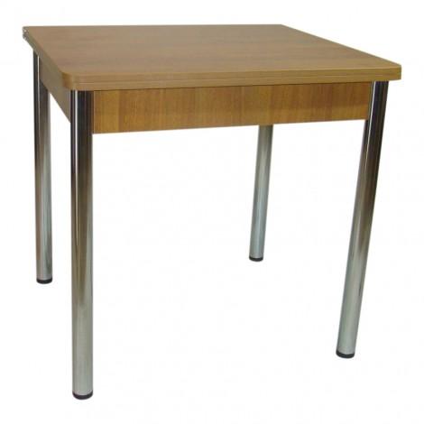 Стол обеденный раскладной Тавол Гранди 70 см х 80 см х 75 см ноги металл хром Орех