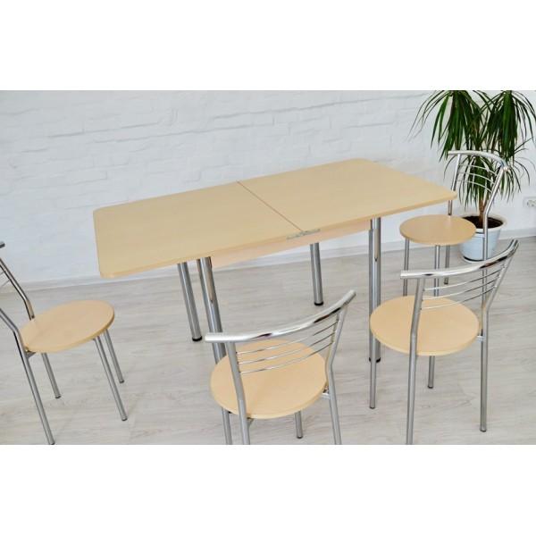 Раскладной стол Тавол Гранди + 4 стула 80смхх70см (140смх80см) ноги металл хром Молочный