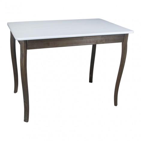 Стол из натурального дерева Тавол Легно с фигурными ногами 100смх60смх75см Белый