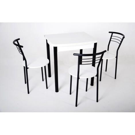 Кухонный комплект Тавол Овале ножки черный металл (Стол раскладной + 3 стула) Белый