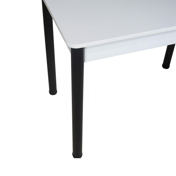 Кухонный комплект Тавол Классик (стол+4 табурета) 93х60х75 ножки металл черные Белый
