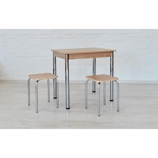 Кухонный набор Тавол Ретта (не раскладной стол+2 табурета) ножки хром Ясень