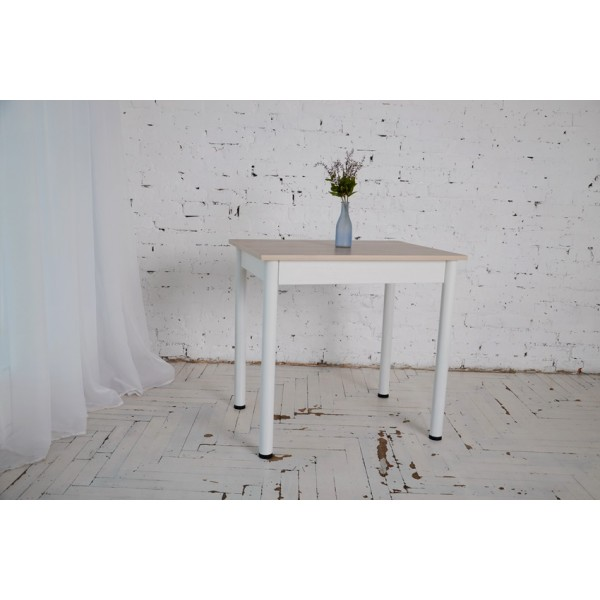 Стол Тавол Ретта 80см х 60см х 75 см ноги металл белый Ясень