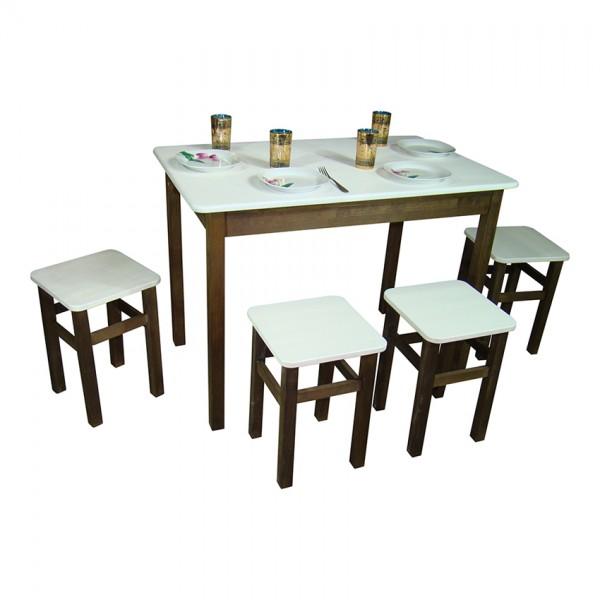 Комплект из натурального дерева Тавол Легно (стол+4табурета) с прямыми ногами 100смх60смх75см Белый