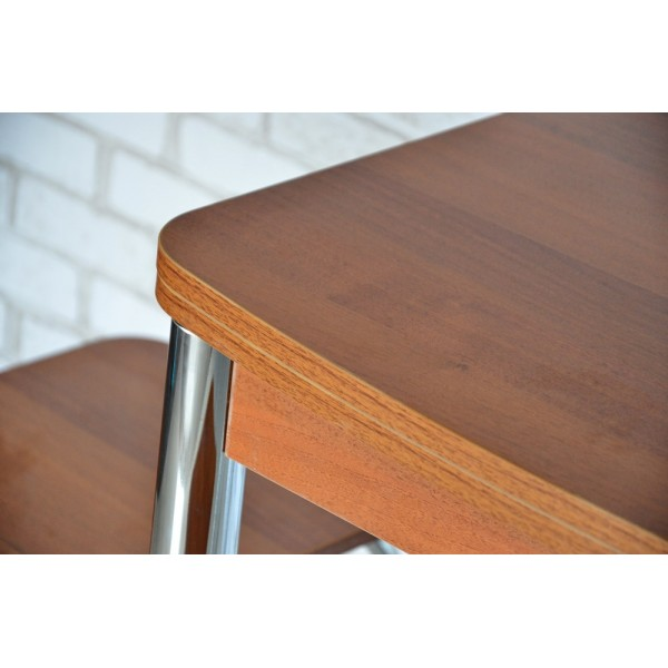 Обеденный комплект Тавол Овале ножки хром металл (Стол раскладной + 3 табурета) Орех