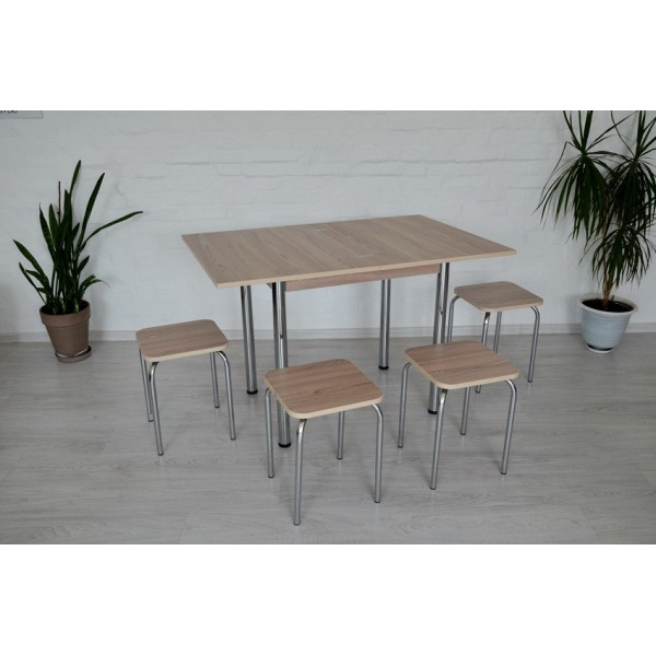 Кухонный комплект стол Тавол Ретта раскладной + 4 табурета Ясень