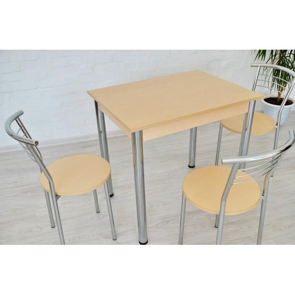 Обеденный комплект Тавол Ретта (стол не раскладной+3 стула) 80смх60смх75см ножки хром Молочный