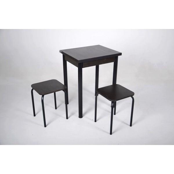 Кухонный комплект Тавол Компакт 60см х 50см ножки черный металл (Стол раскладной + 2 табуретки) Венге