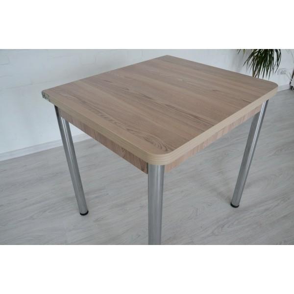 Раскладной стол Тавол Гранди + 3 табурета 80смх70см (140смх80см) ноги металл хром Ясень
