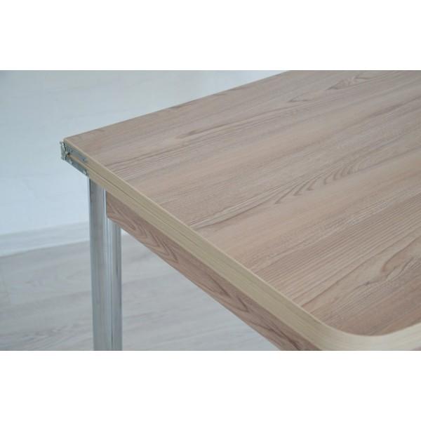 Обеденный комплект Тавол Овале ножки хром металл (Стол раскладной + 2 табурета) Ясень