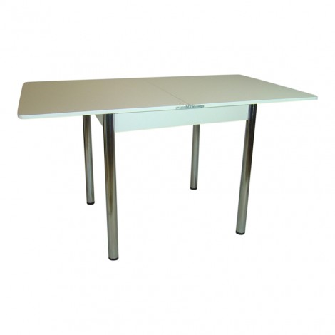 Стол обеденный раскладной Тавол Гранди 70 см х 80 см х 75 см ноги металл хром Белый