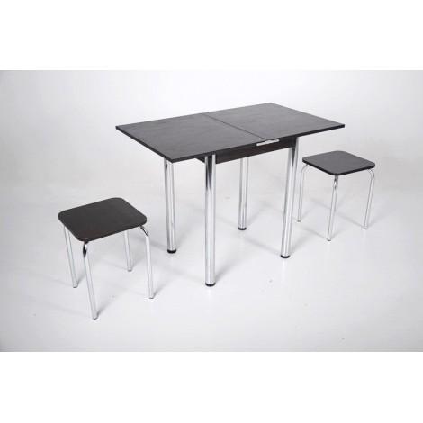Кухонный комплект Тавол Компакт 60см х 50см ножки металл хром (Стол раскладной + 2 табуретки) Венге