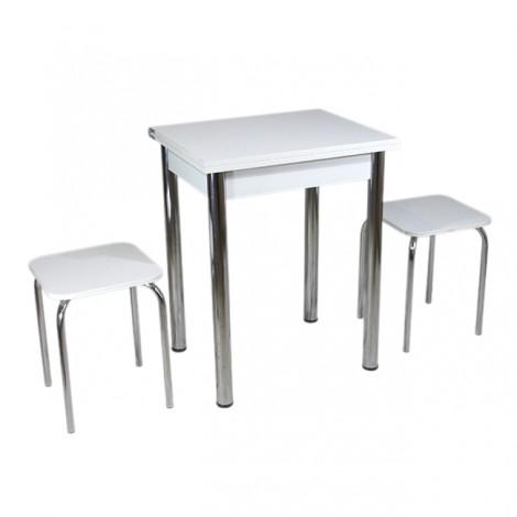 Кухонный комплект Тавол Компакт (раскладной стол+2 табурета) 93х60х75 ножки хром металл Белый