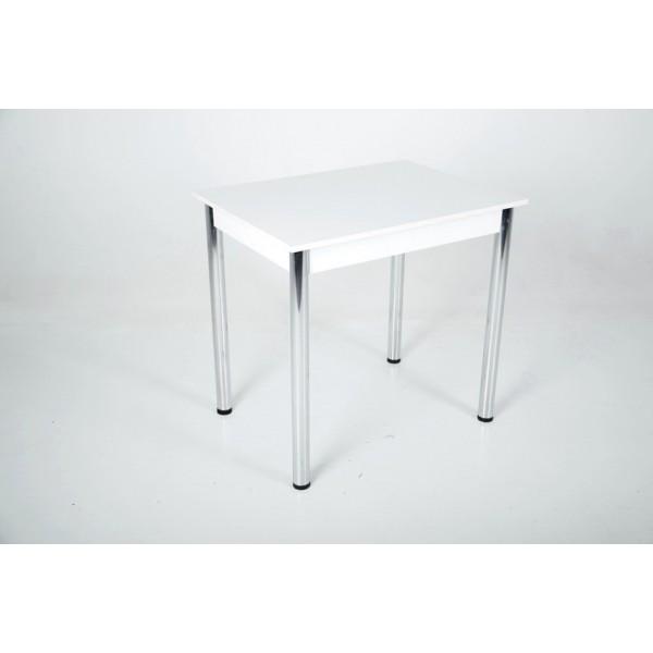 Кухонный комплект Тавол Ретта 80см х 60см ножки металл хром (Стол не раскладной + 3 стула) Белый