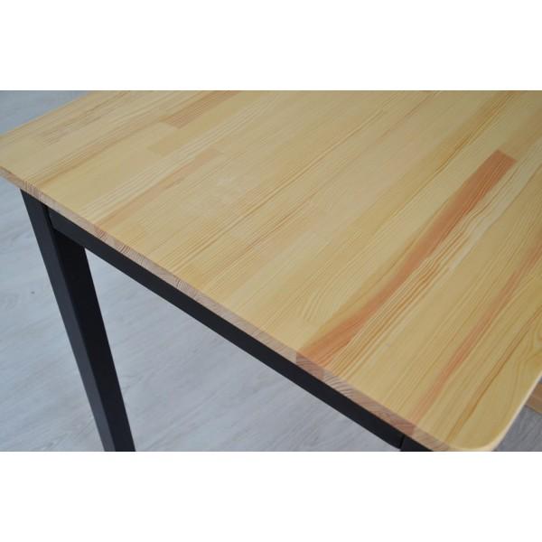 Стол из натурального дерева Тавол Легно с прямыми ногами 100смх60смх75см Натуральный/Черный