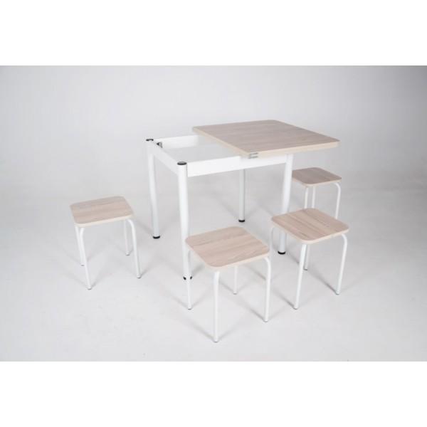 Раскладной стол Тавол Гранди + 4 табурета с металлическими белыми ногами Ясень