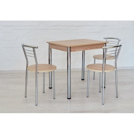 Обідній комплект Тавол Ретта (стіл нерозкладний + 3 стільці) 80смх60смх75см ніжки хром Ясен