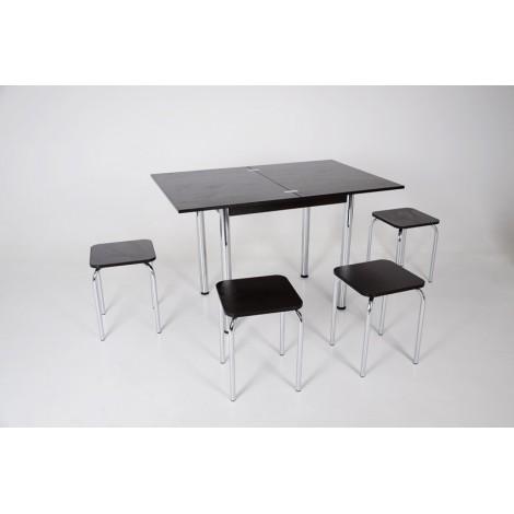 Кухонный комплект стол Тавол Ретта раскладной + 4 табурета Венге