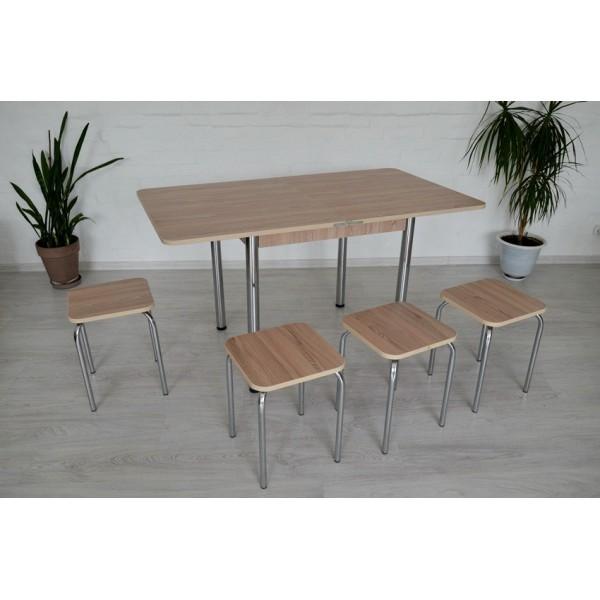 Раскладной стол Тавол Гранди + 4 табурета 80смх70см (140смх80см) ноги металл хром Ясень