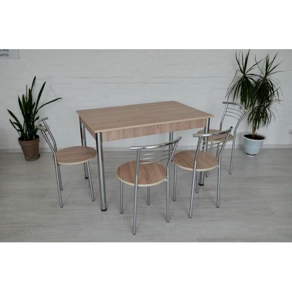 Стол раздвижной Тавол Скор 115 см х 75 см х 75 см + 4 стула хром Ясень