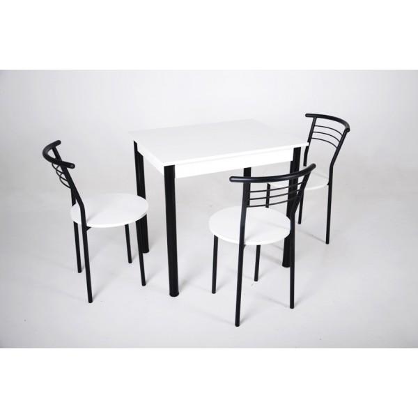 Кухонный комплект Тавол Ретта 80см х 60см ножки металл черный (Стол не раскладной + 3 стула) Белый