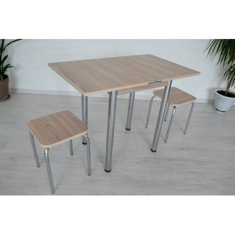 Кухонный комплект Тавол Компакт 60см х 50см ножки металл хром (Стол раскладной + 2 табуретки) Ясень