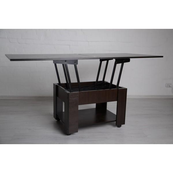 Стіл трансформер 2 в 1 журнально-обідній Тавол Диверс 80 см х 75 см х 48 см з полицею на роликах Венге