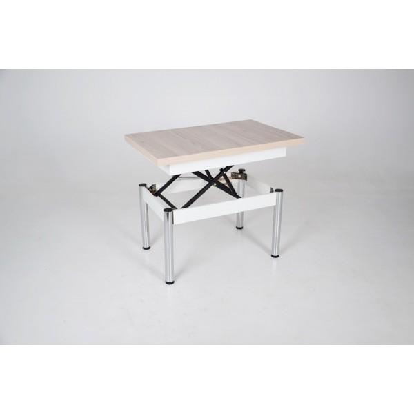 Стол трансформер Тавол Хай Тек с хромированными металлическими ножками Ясень