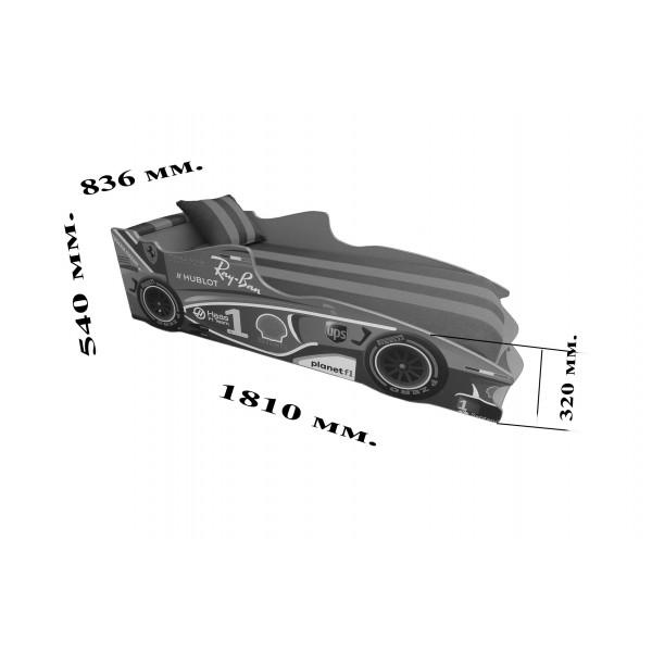Кровать-машина детская Формула 1 F-3 без подъемного механизма Viorina-Deko