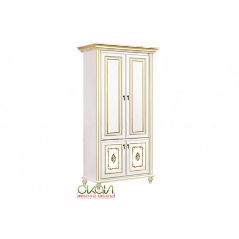 Шкаф 2-х дверный белый с золотом Верона Скай