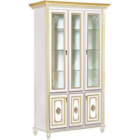 Витрина 3-х дверная белый с золотом Верона Скай