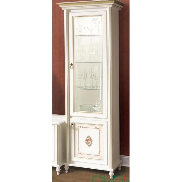 Витрина 1-но дверная белый с золотом Верона Скай