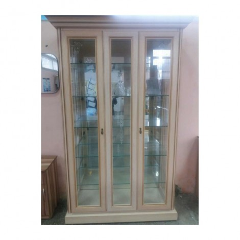 Витрина 2-х дверная с зеркалом беж Гоа Терра Скай