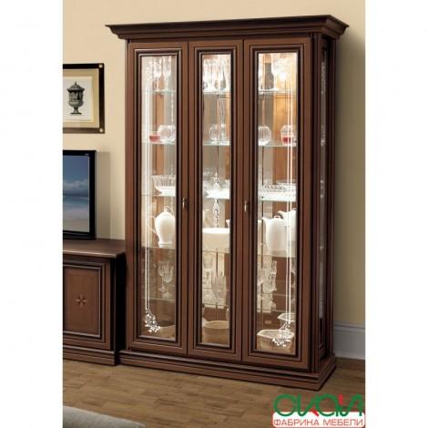 Витрина 2-х дверная с зеркалом орех Лунгарно Терра Скай